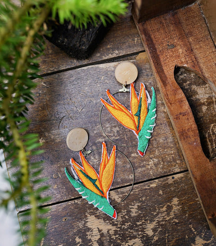 Jafari Birds of Paradise Earrings (Orange)
