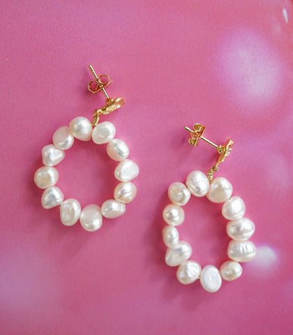 Earrings - Jori Pearl Hoop Earrings