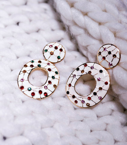 Earrings - Kanoa Gem Studded Link Earrings
