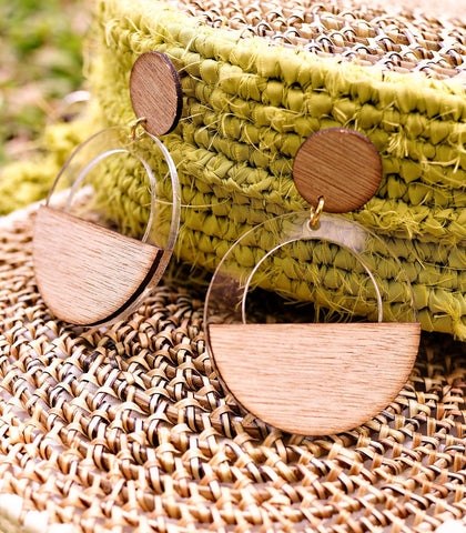 Earrings - Kwame Wood And Acrylic Drop Earrings (Circle Lucite)