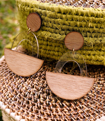Earrings - Kwame Wood And Acrylic Drop Earrings (Oval Lucite)