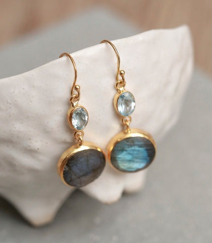 Earrings - Labradorite And Blue Topaz Earrings