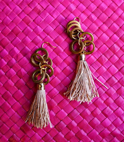 Earrings - Luciana Wood And Tassel Earrings