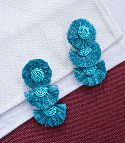 Earrings - Media Luna Embellished Tiered Earrings (2 Variants)