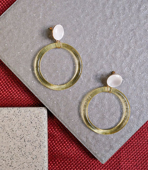Earrings - Morolica Acrylic Hoop Earrings - White Stud