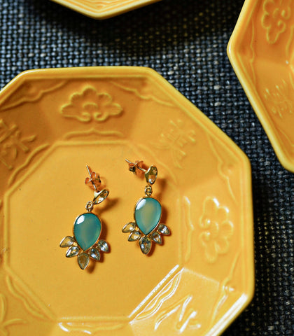 Earrings - Noya Blue Topaz And Chalcedony Earrings