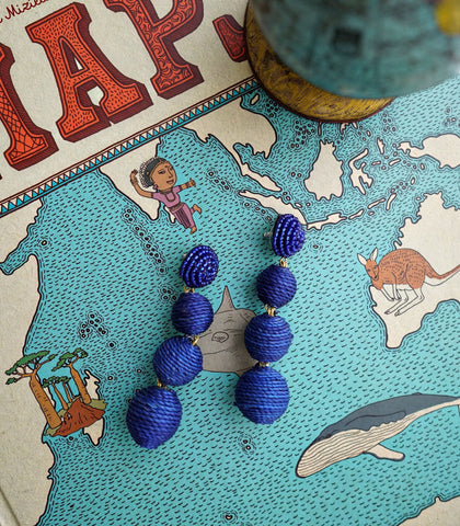 Earrings - Palm Springs Abaca Drop Earrings - Royal Blue
