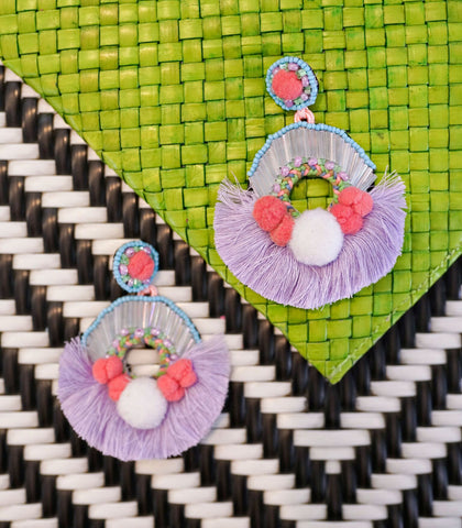 Earrings - Palma Beaded Tassel Earrings (Purple)