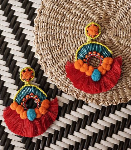Earrings - Palma Beaded Tassel Earrings (Red)