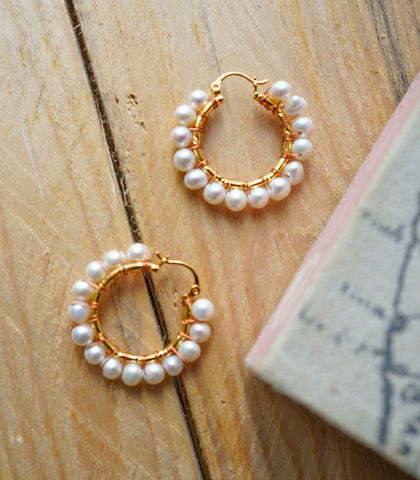Earrings - Pearl Hoop Earring- Medium