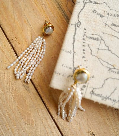 Earrings - Pearl Tassel Earrings