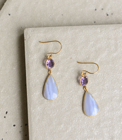 Earrings - Sibyl Blue Lace Agate Earrings