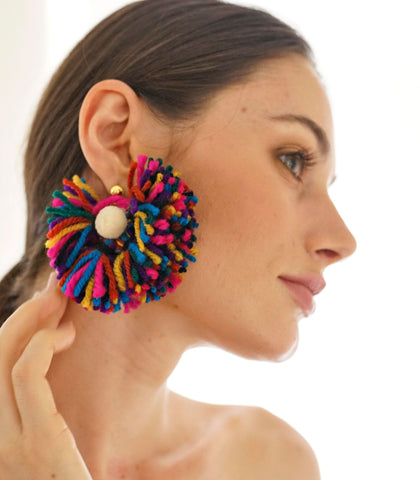 Earrings - Tulum Fan Earrings (Multicolor)