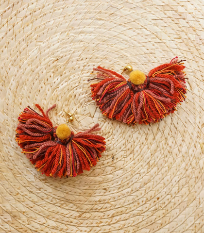 Earrings - Tulum Fan Earrings (Rustic Orange)