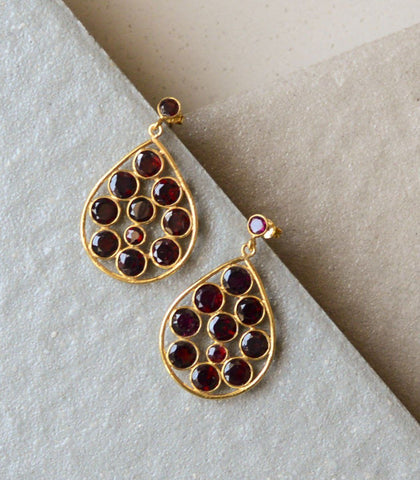 Earrings - Yotea Garnet Earrings