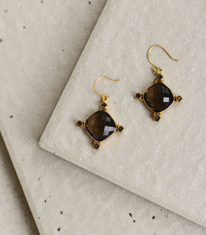 Earrings - Zlota Smoky Quartz Earrings