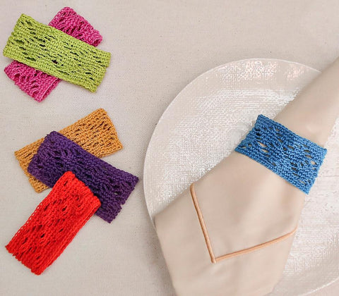 Entertaining - Multicolored Lattice Napkin Rings Set Of 6