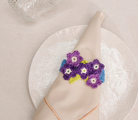 Entertaining - Purple Forget-me-nots Napkin Rings Set Of 6