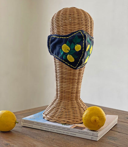 Face Mask - Intricado Embroidered Face Mask (Navy Lemons)