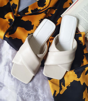 Flats - Sabine Padded Leather Slides (Ecru)