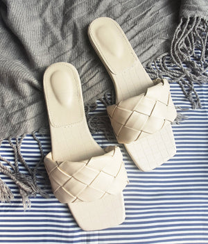 Flats - Taree Woven Leather Slides (Ivory)