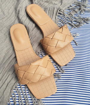 Flats - Taree Woven Leather Slides (Mocha)