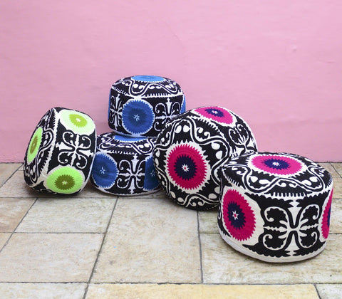 Furniture - Embroidered Suzani Pouf