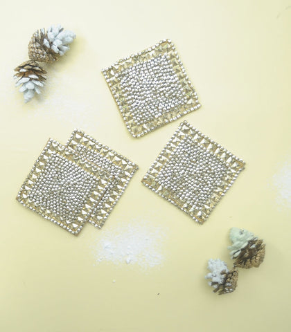 Glass Coasters - Beaded Coasters Set Of 4