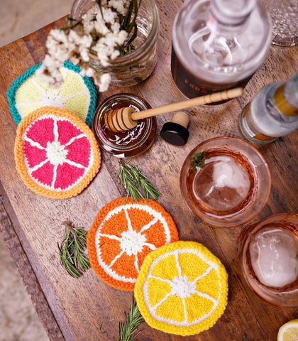 Glass Coasters - Citrus Fruit Cocktails - Set Of 8