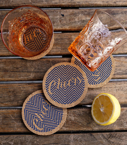 Glass Coasters - Cork Glass Coasters - Set Of 4