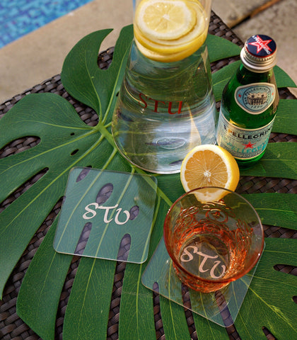 Glass Coasters - Monogrammed Square Lucite Coasters - Set Of 4 Or Set Of 6