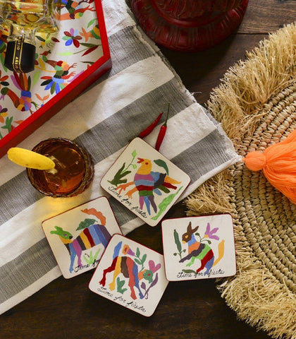 Glass Coasters - Otomi Glass Coaster Set Of 4