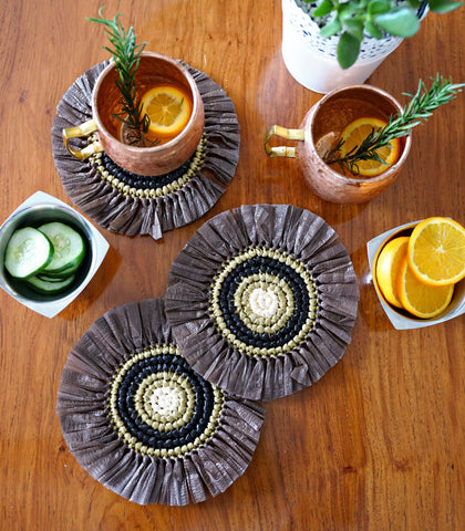 Glass Coasters - Pachuca Straw Coasters - Set Of 4