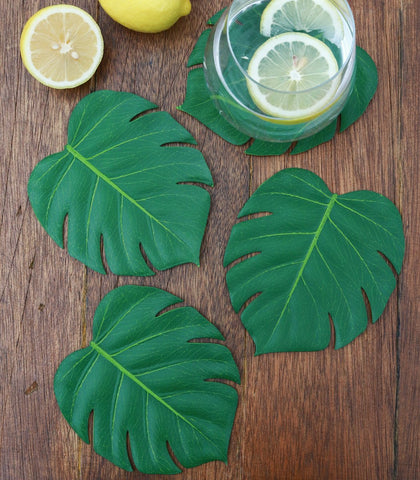 Glass Coasters - Philo Leaf Coasters - Set Of 4