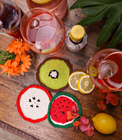 Glass Coasters - Summer Fruit Cocktails  - Set Of 6