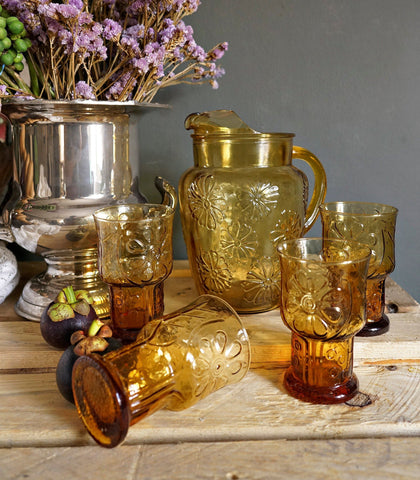 Glassware - Carine 5-Piece Floral Drinks Set