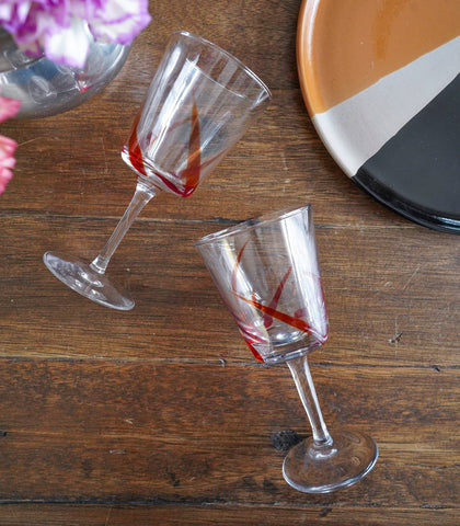 Glassware - Rayas Red Striped Wine Glass - Set Of 4