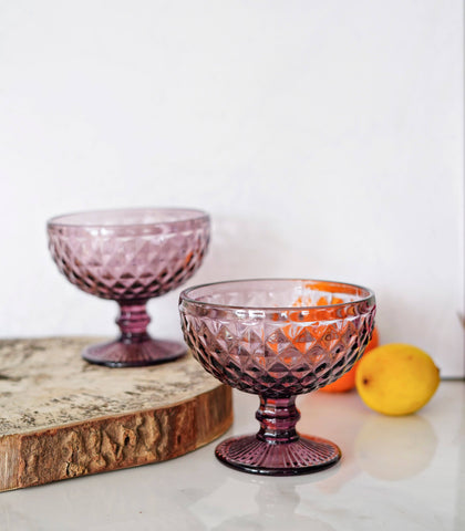 Glassware - Sangria Embossed Ice Cream Cup- Set Of 4 (340 Ml)