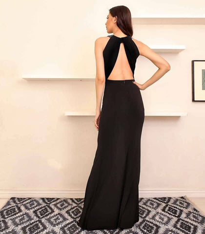 Gown - Abelia Draped Halter And Bare Back Jersey Dress