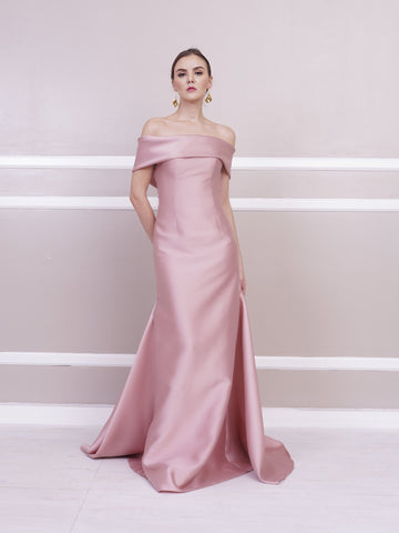 2a444c8ba2 Jill Lao Gianna Off-Shoulder Gown with Pleated Train
