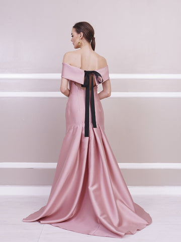 Gown - Jill Lao Gianna Off-Shoulder Gown With Pleated Train