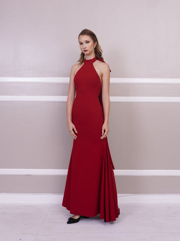 Gown - Jill Lao Mandy Halter Gown With Neck Bow