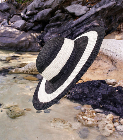 Hat - Astra Buri Sun Hat (Black Stripe)