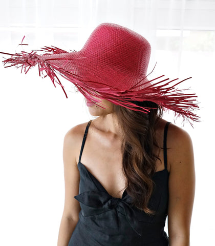 Hat - Exuma Fringed Straw Hat (Rouge)