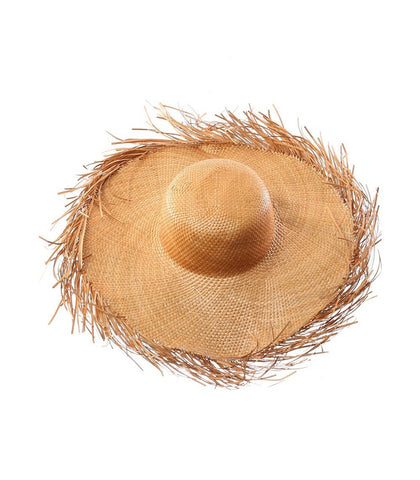 Hat - Exuma Fringed Straw Hat (Wheat)