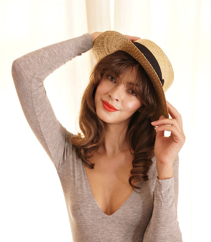 Hat - Lisa Straw Boater Hat