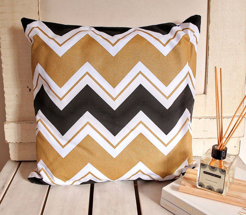 Home - Klimt Gold Chevron Throw Pillow