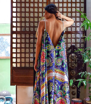 Vihiga Low Back Tent Maxi Dress with Rope Straps (Fiesta Print)