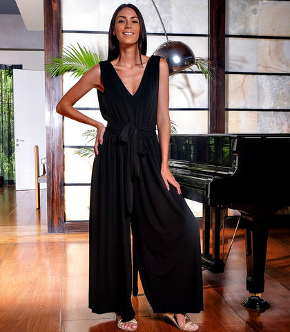 Jumpsuit - Bastide Wide Leg Jumpsuit (Black)