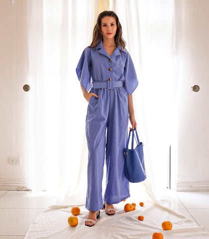 Jumpsuit - Chaguanas Button-Down Wide Leg Jumpsuit With Drape Sleeves (Cornflower)